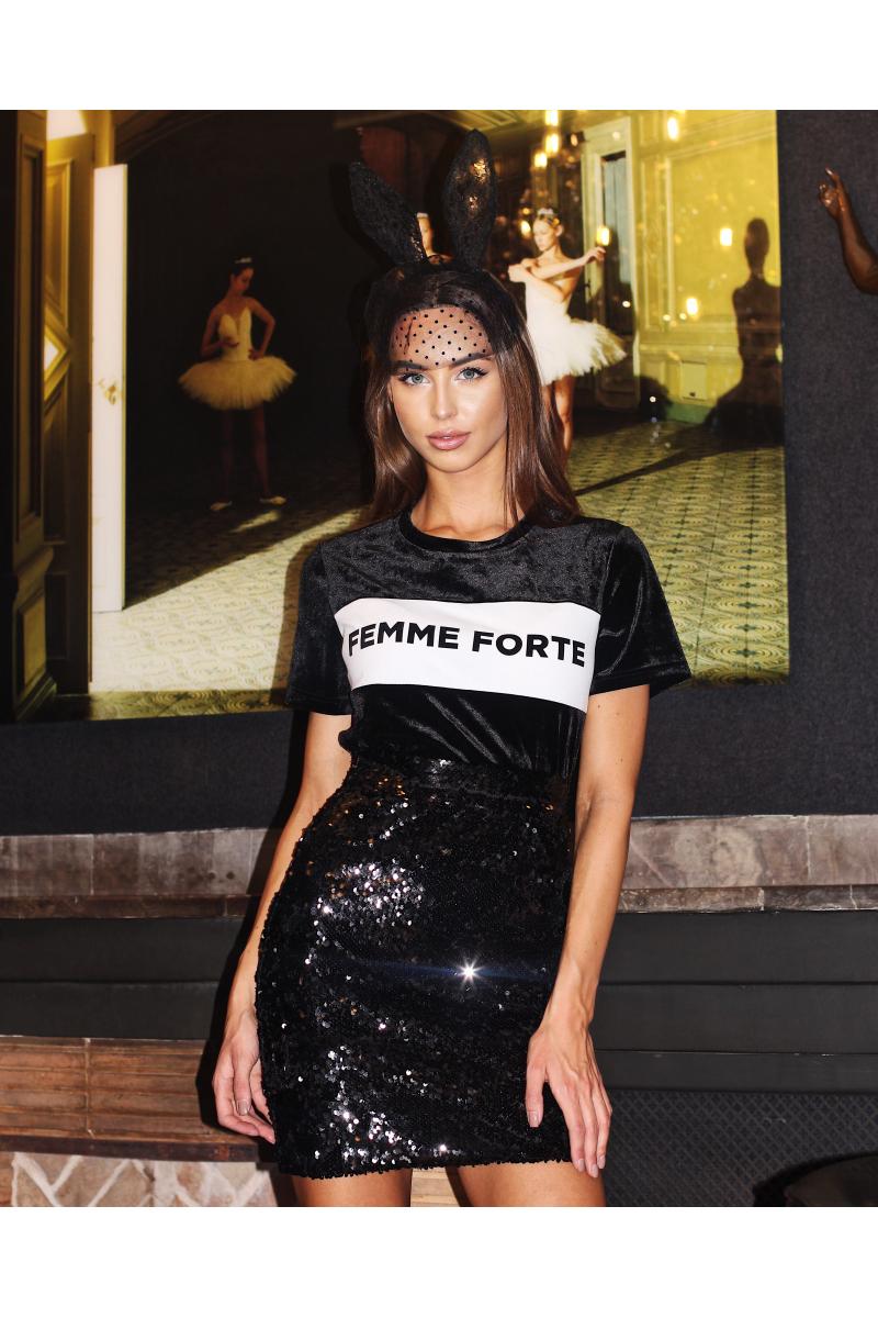 FEMME FORTE BLACK VELVET SHIRT