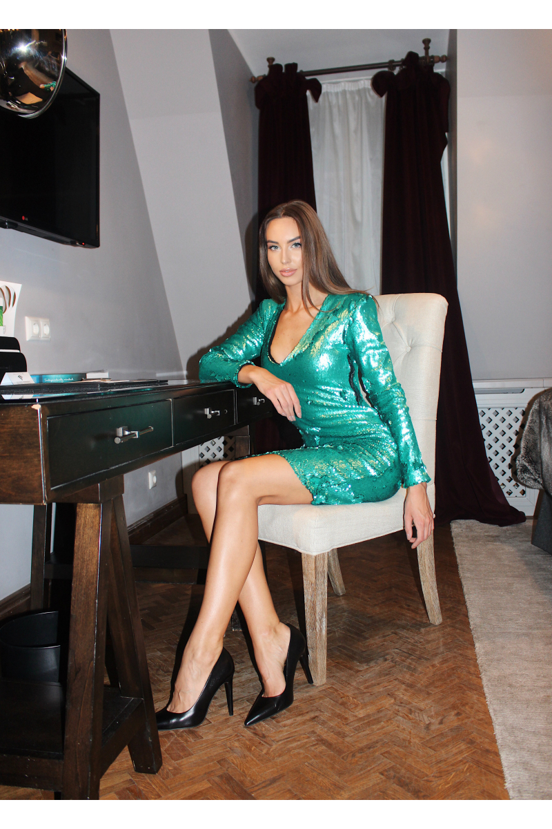 GREEN SEQUIN PARTY DRESS
