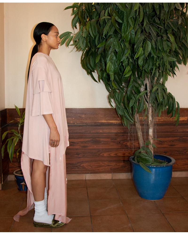 DRAPED T-SHIRT DRESS - PINK