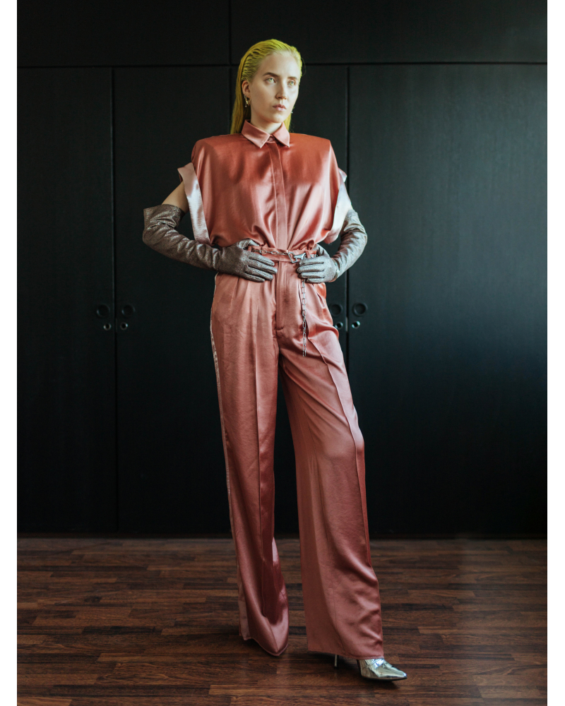 CORAL PINK WIDE LEG TROUSERS