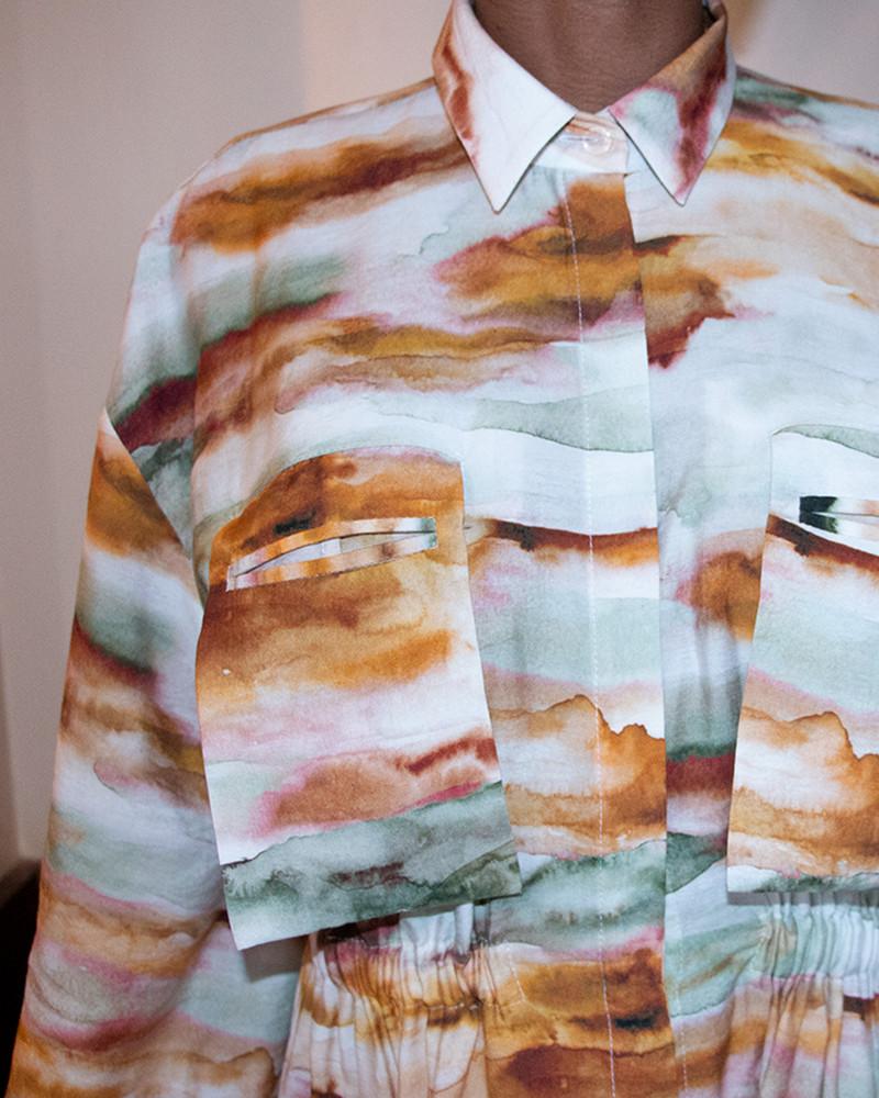 Asymmetric Shirt Dress - Printed