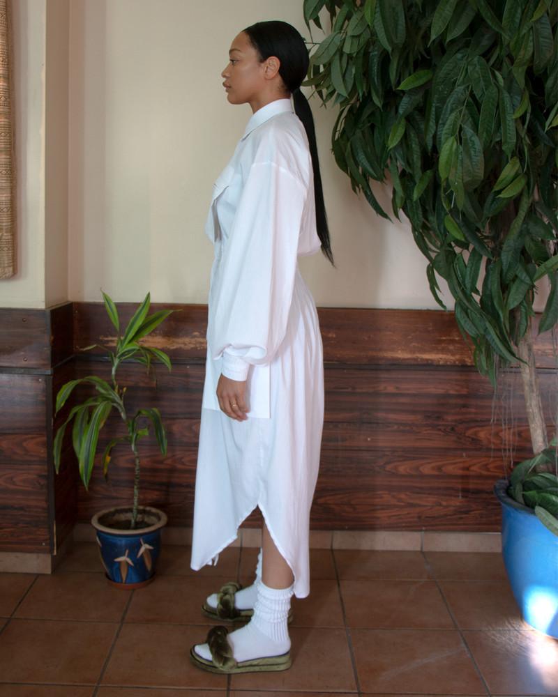 Asymmetric Shirt Dress - White