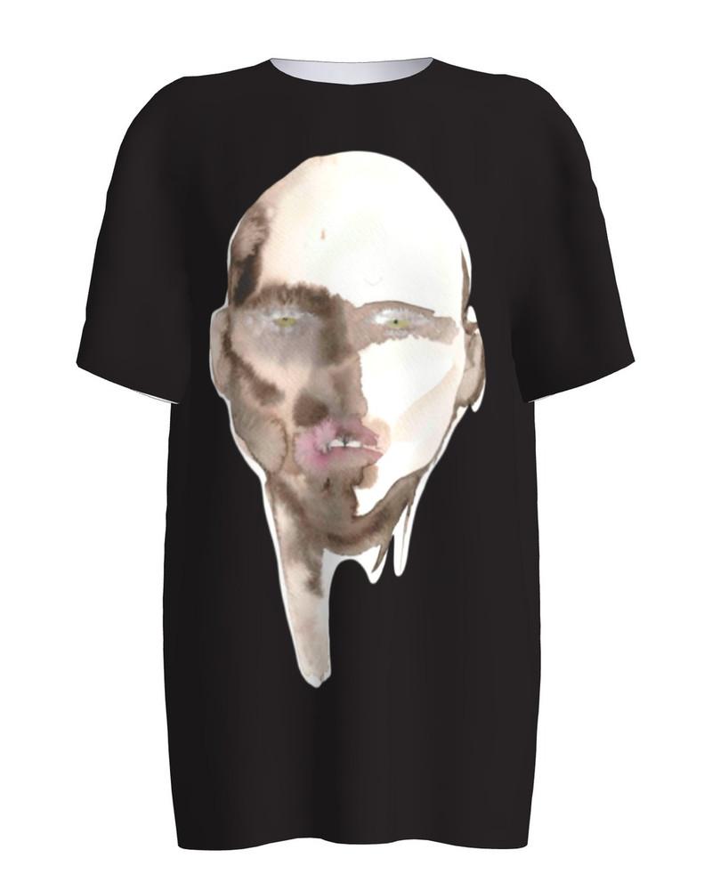 Painted print t-shirt Black unisex