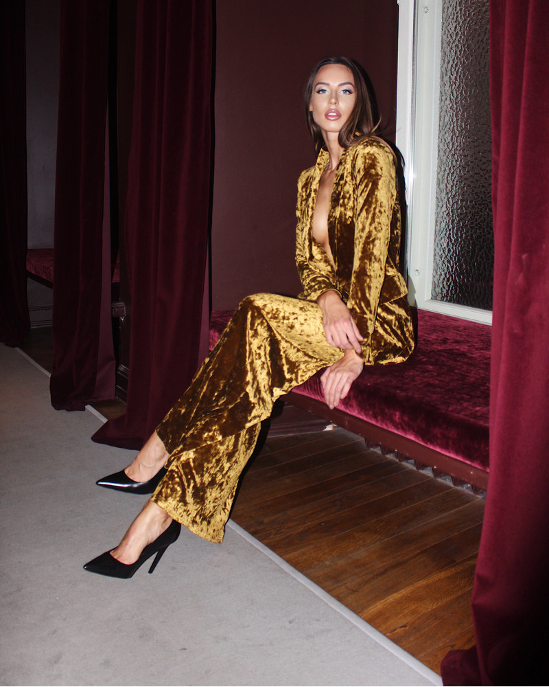 MUSTARD GOLDEN VELVET TROUSERS WIDE