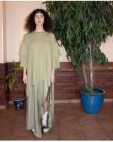 Draped T-shirt Dress - Green