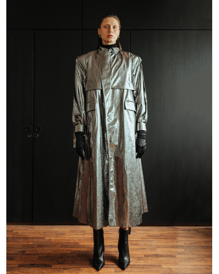 DARK SILVER TRENCHCOAT