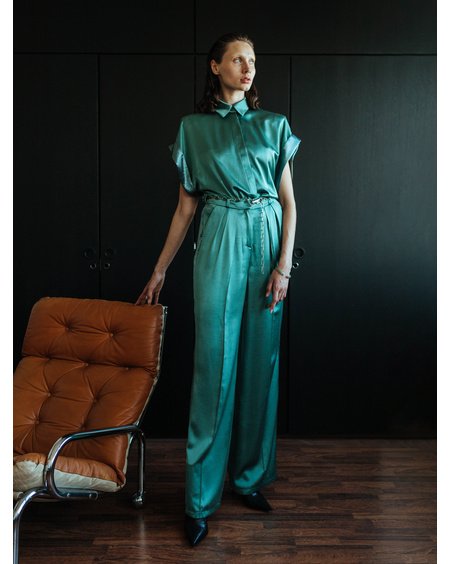 GREEN WIDE LEG SATIN TROUSERS